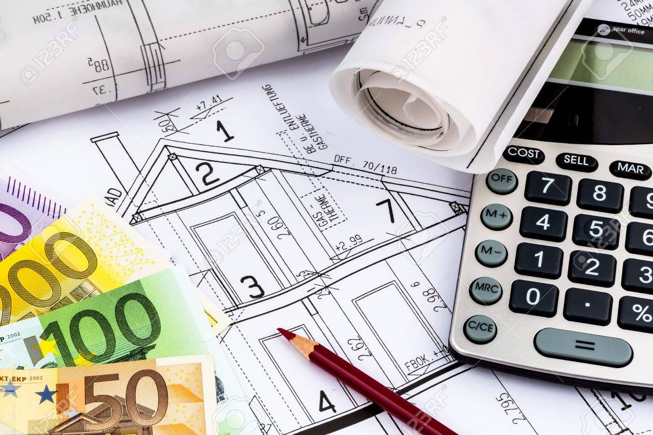 A blueprint of an architect with a calculator and euro money a blueprint of an architect with a calculator and euro money symbolic photo for financing malvernweather Images