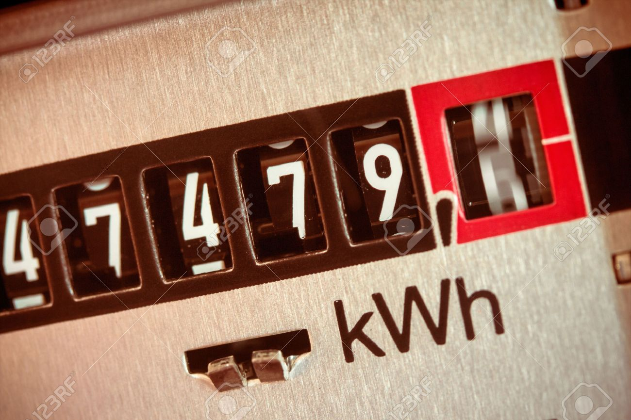 an electricity meter measures the current consumed. save symbolfoto for electricity price and electricity Stock Photo - 46712024