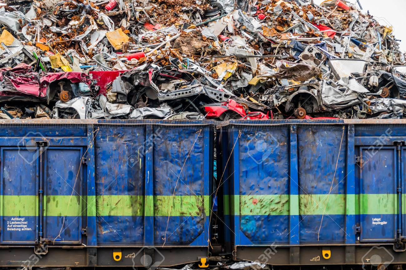 Old Cars Were Scrapped In A Trash Compactor. Scrapping Premium ...