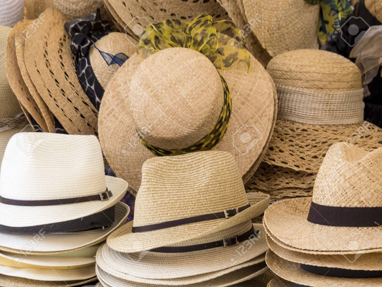 Selection Of Straw Hats, Symbol Photo For Summer Fashion, Choice ...