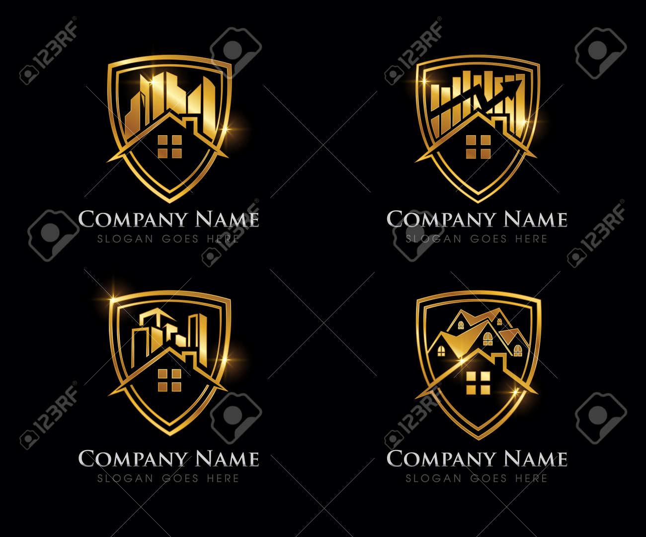A Vector Illustration of Golden Real Estate Logo Sign - 168595013