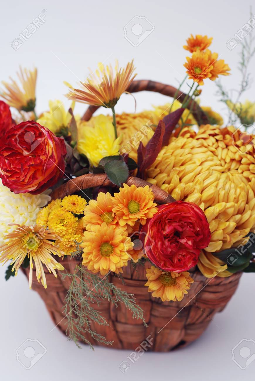 Autumn Bouquet Of Colorful Flowers In Basket Chrysanthemum And Stock Photo Picture And Royalty Free Image Image 88331319