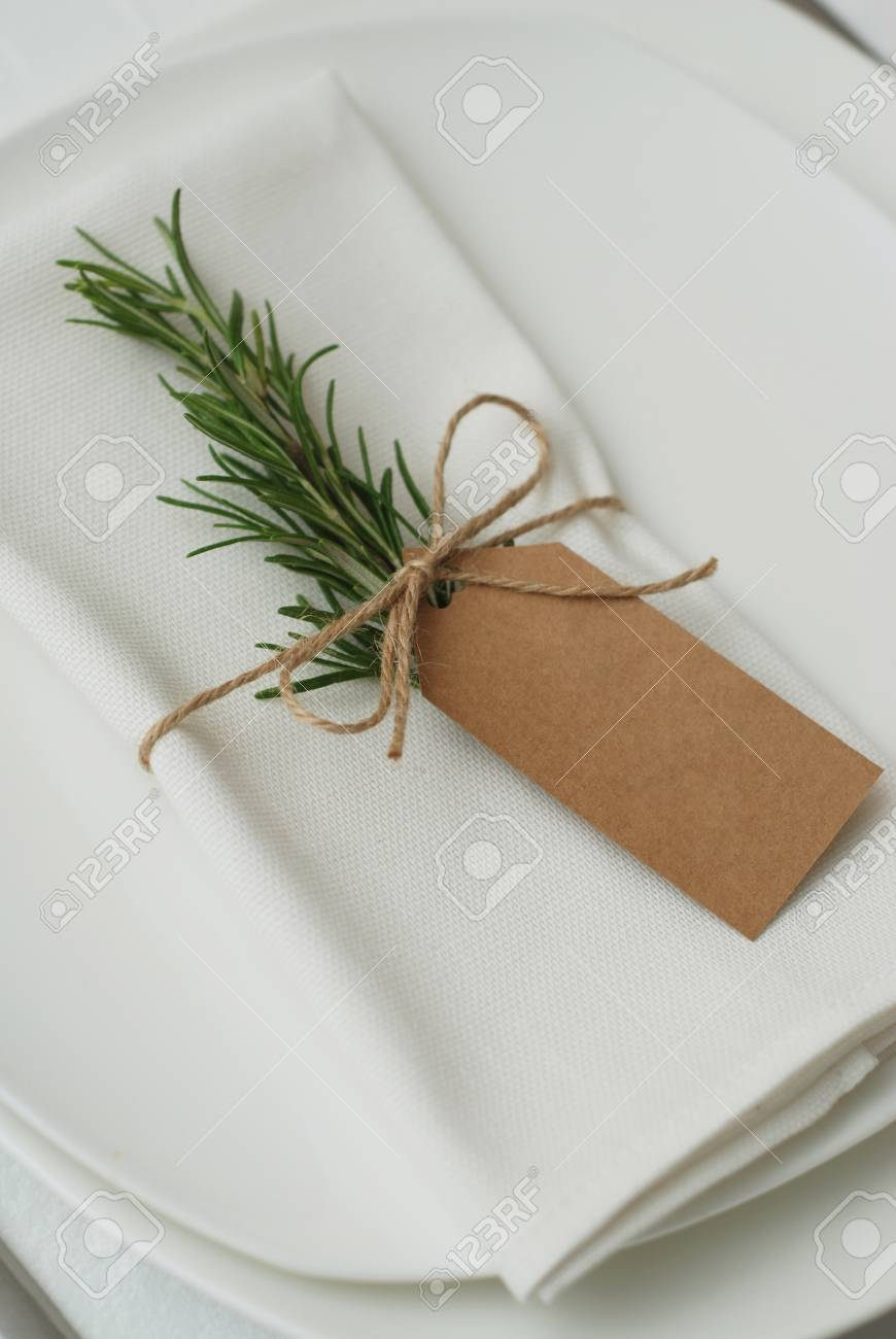 Wedding Table Setting With Rosemary On White Napkin Wedding Stock Photo Picture And Royalty Free Image Image 101912408