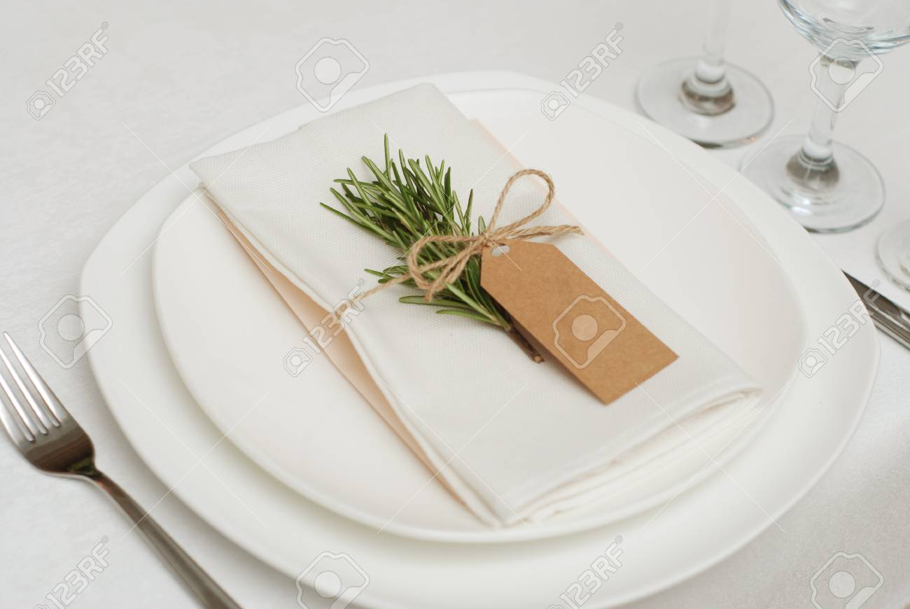 Wedding Table Setting With Rosemary On White Napkin Wedding Stock Photo Picture And Royalty Free Image Image 102124104
