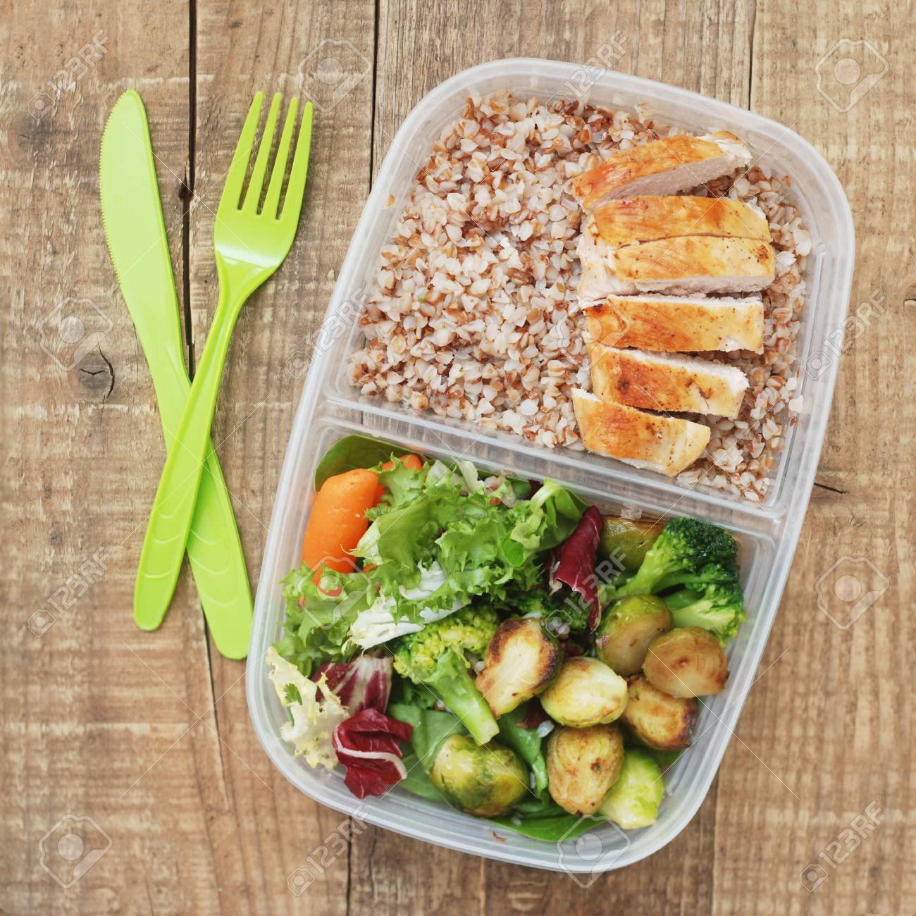 Lunch Box Healthy Food Take Away Plastic Container Buckwheat Stock Photo Picture And Royalty Free Image Image 104602337