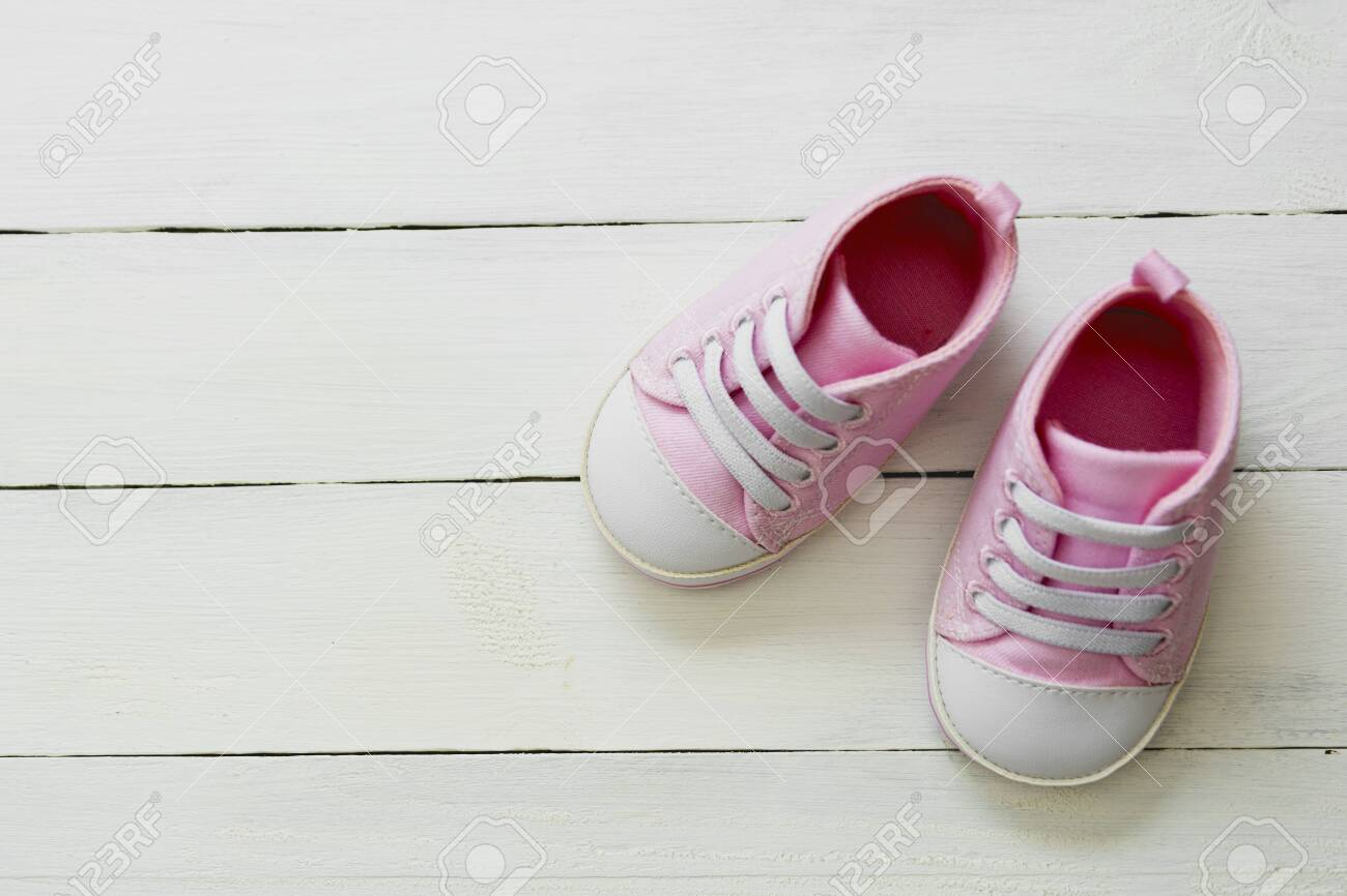 Pink Baby Girl Shoes, On Gray