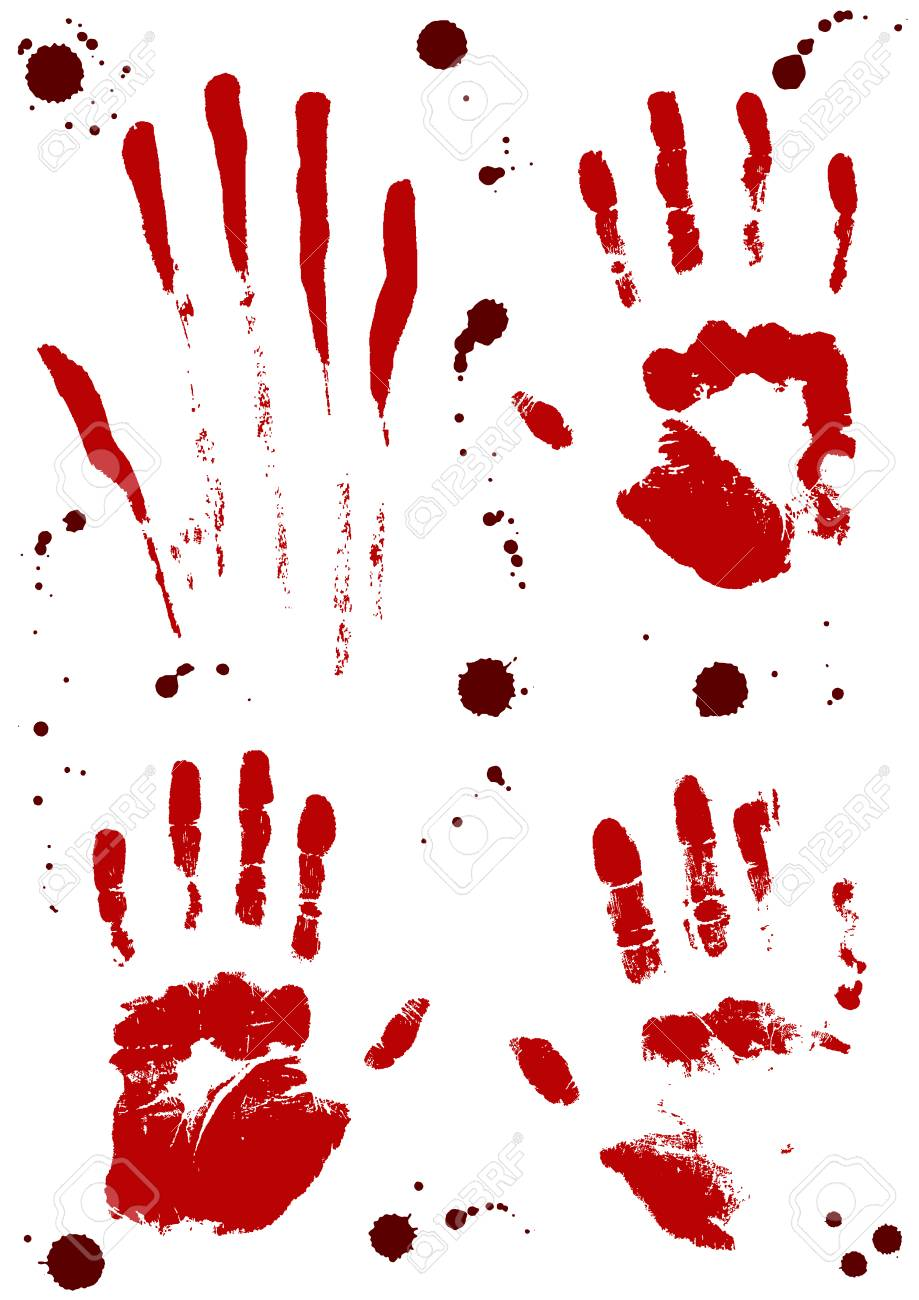Bloody handprints with blood splatter