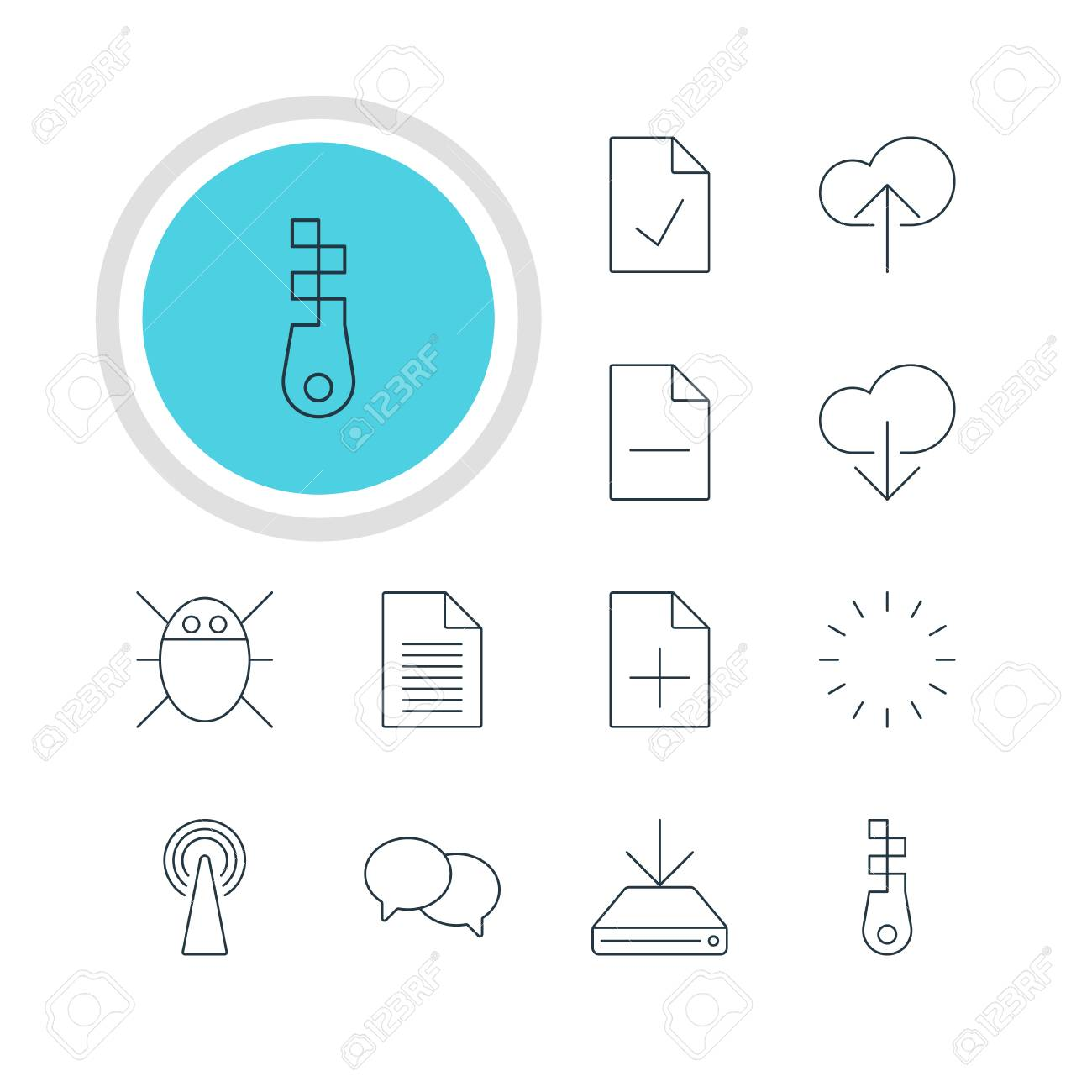 vector illustration of 12 web icons editable pack of cloud download