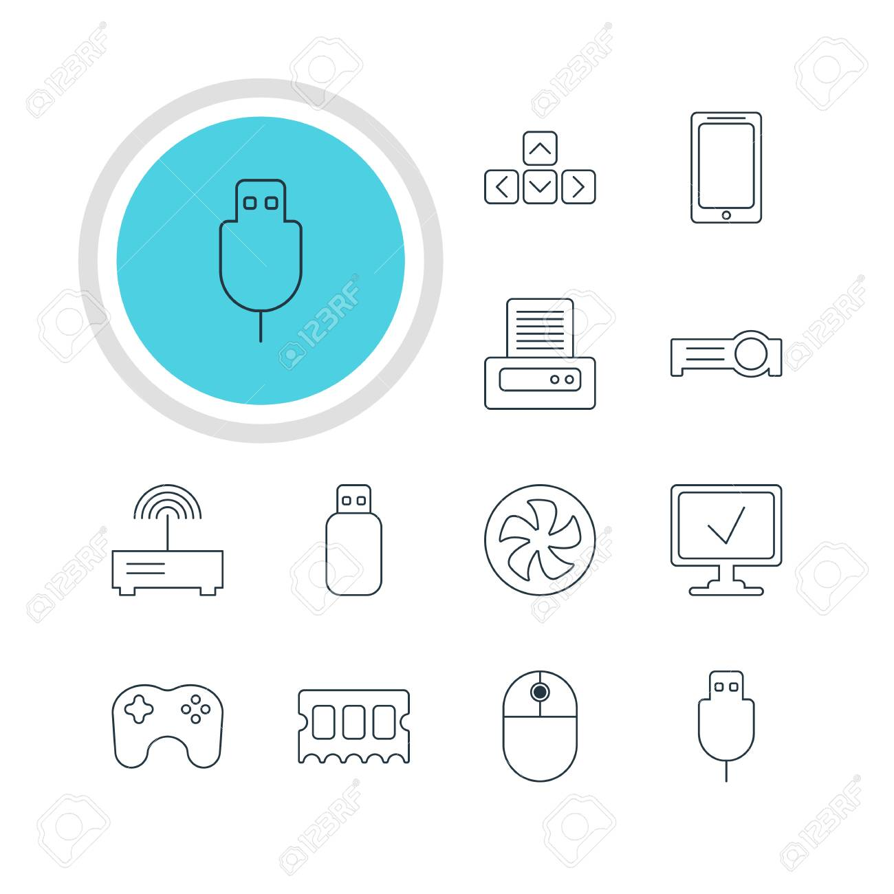 Vector Illustration Of 12 Computer Icons Editable Pack Serial Bus Diagram Printer Router And Other Elements
