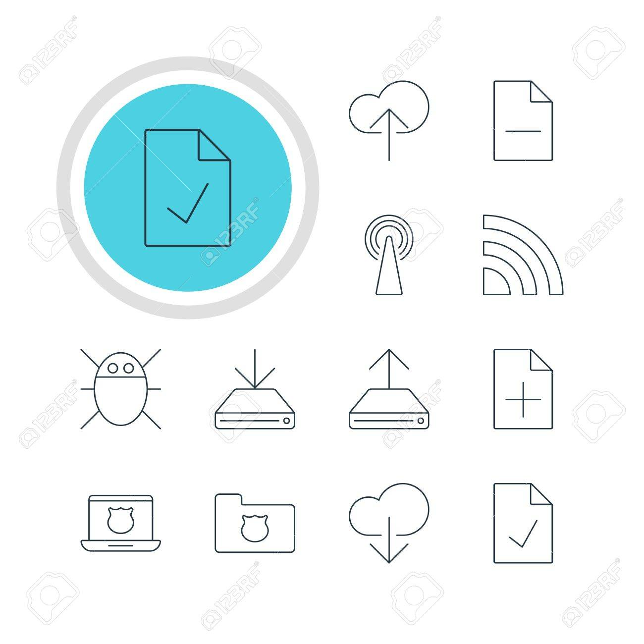 Vector Illustration Of 12 Network Icons Editable Pack Of Hdd
