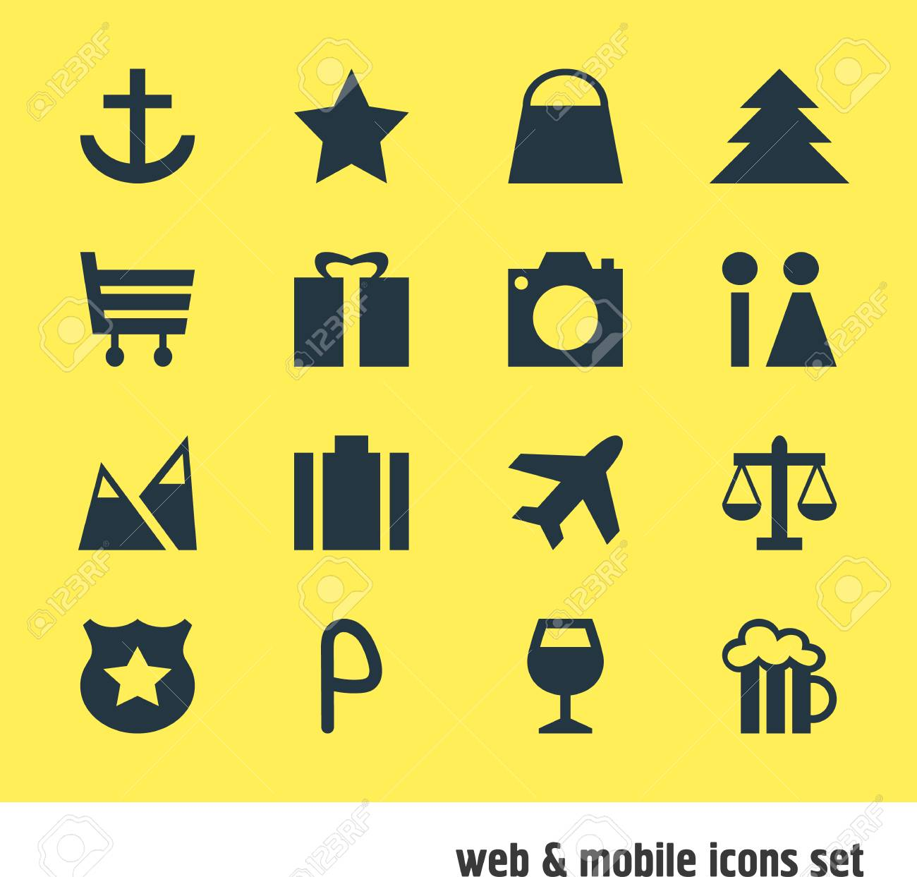 Vector Illustration Of 16 Location Icons Editable Pack Of Scales
