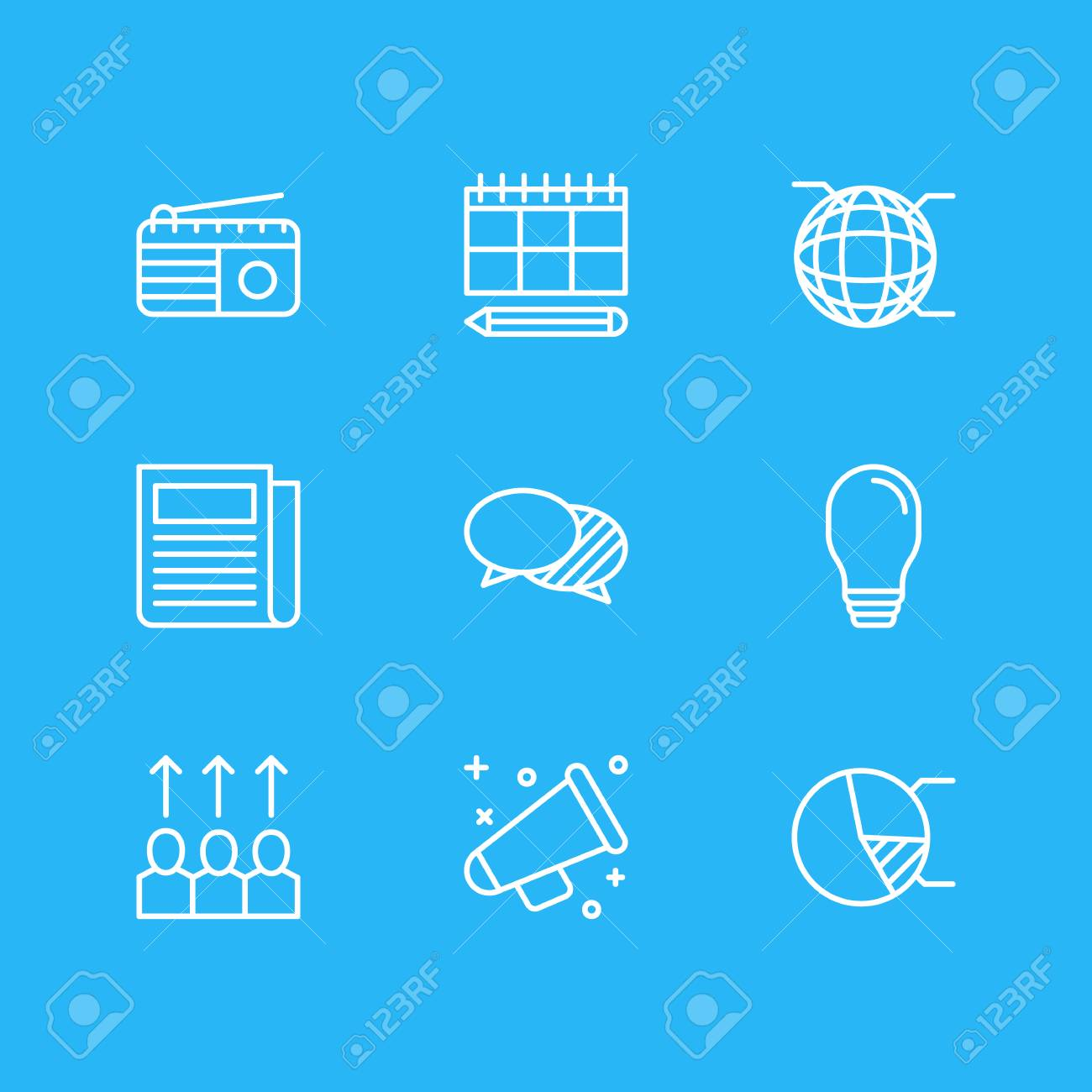 Vector Illustration Of 9 Advertising Icons Editable Pack Of