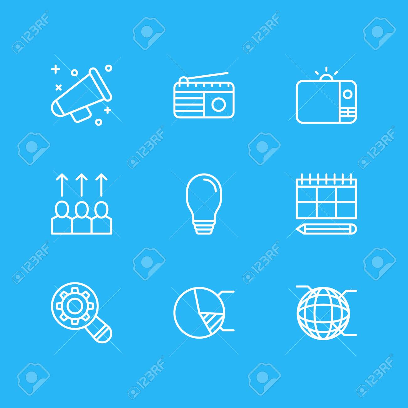 Vector illustration of 9 marketing icons editable pack of circle vector illustration of 9 marketing icons editable pack of circle diagram network lamp ccuart Gallery