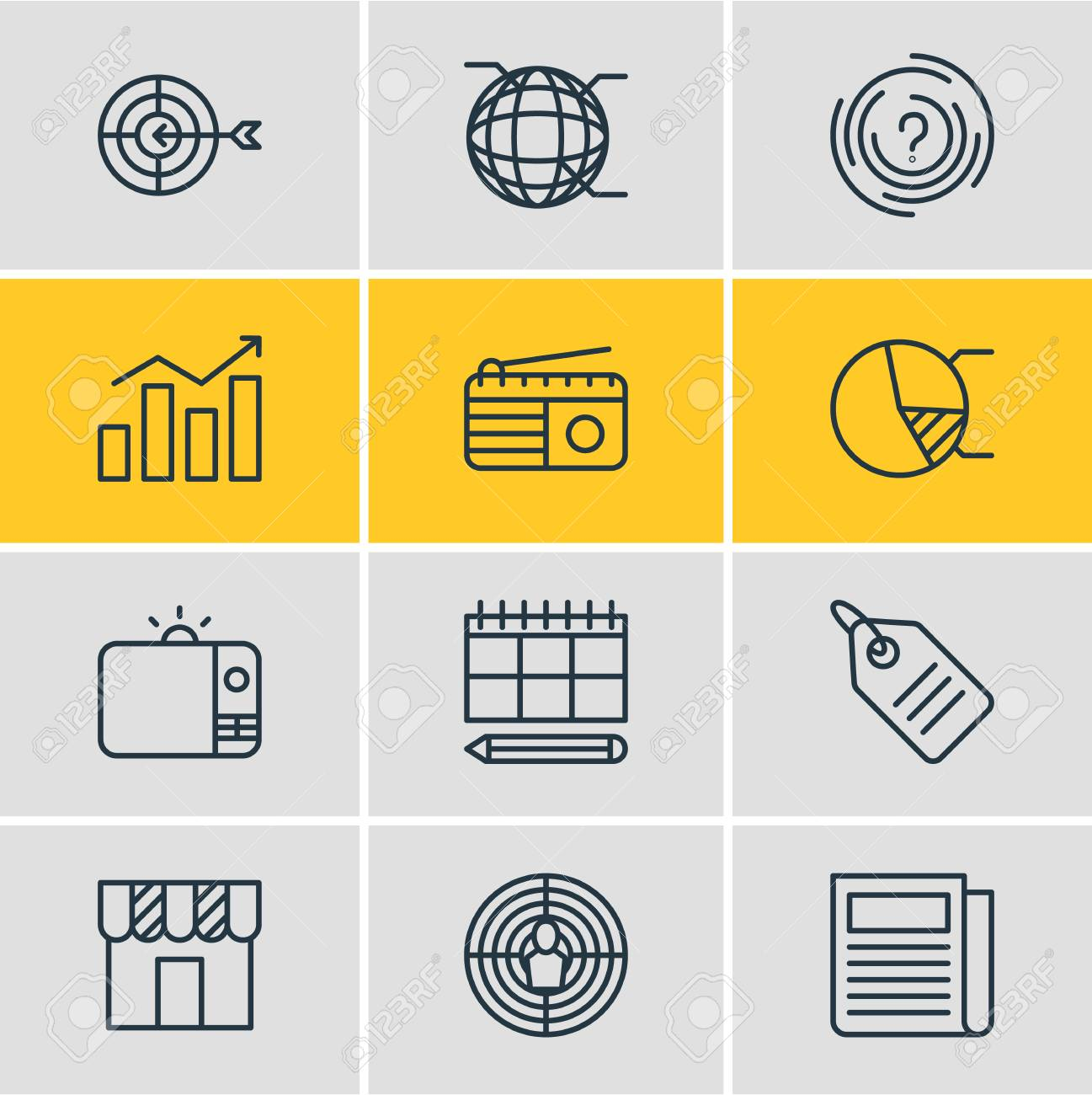 Vector illustration of 12 advertising icons editable pack of vector vector illustration of 12 advertising icons editable pack of circle diagram schedule network and other elements ccuart Image collections