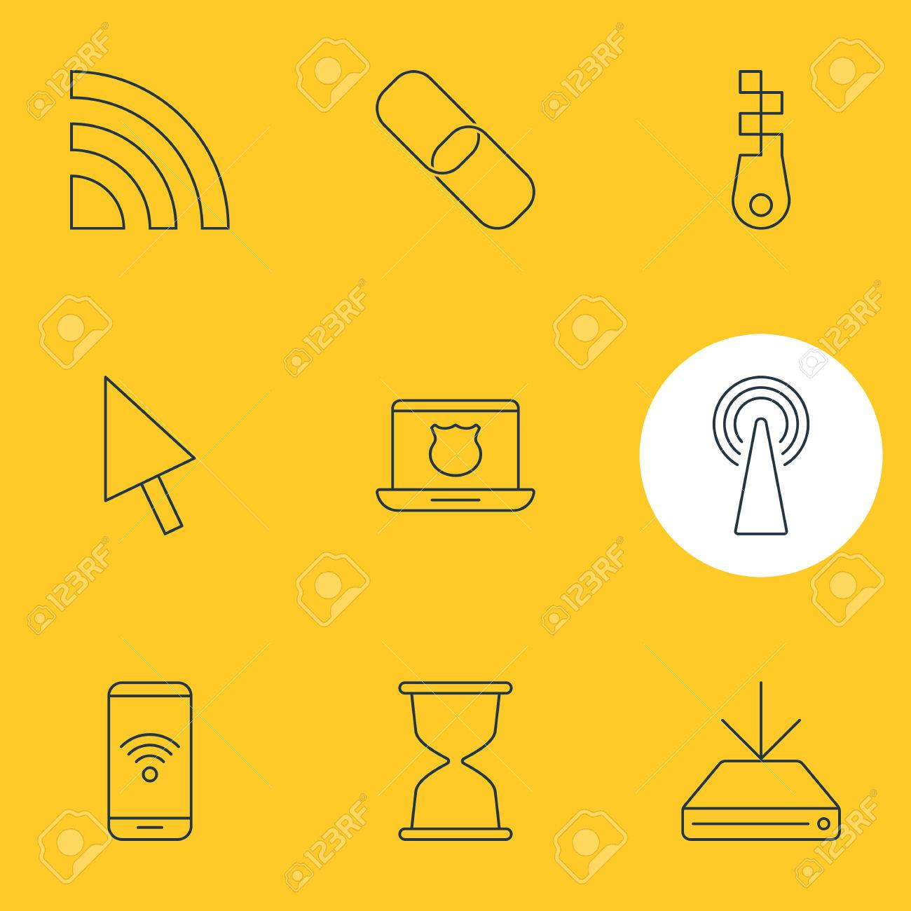 Vector Illustration Of 9 Network Icons Editable Pack Of Telephone