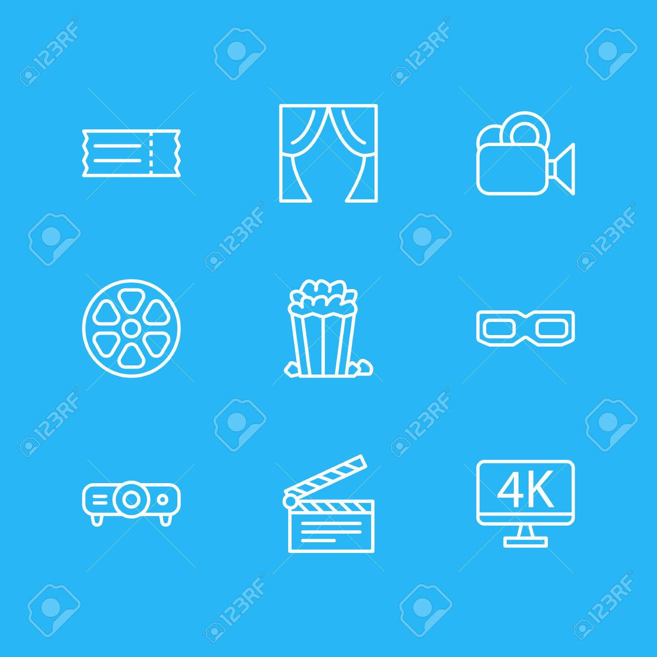Vector Illustration Of 9 Cinema Icons. Editable Pack Of Resolution, Clapper, Movie Reel And Other Elements. - 81585110