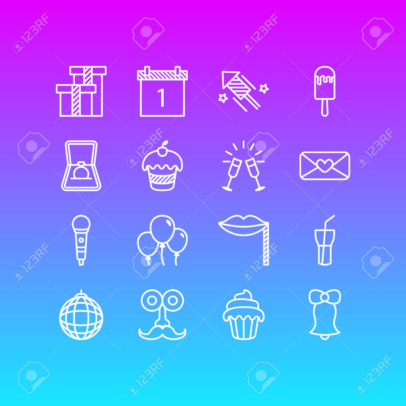Editable Pack Of Soft Drink, Cupcake, Goblet And Other Elements. Vector Illustration Of 16 Party Icons. - 84814089