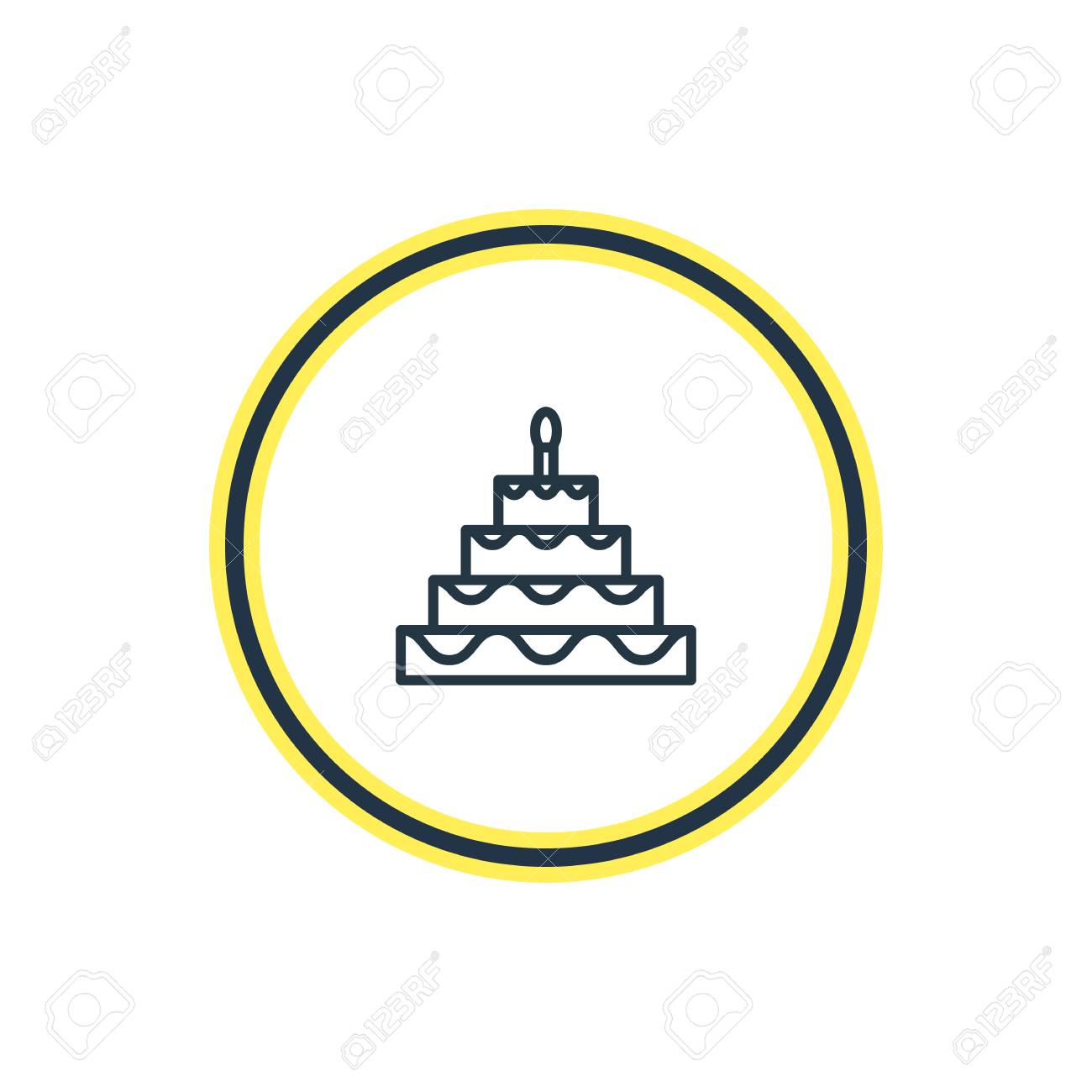 Vector Illustration Of Birthday Cake Outline Beautiful Feast
