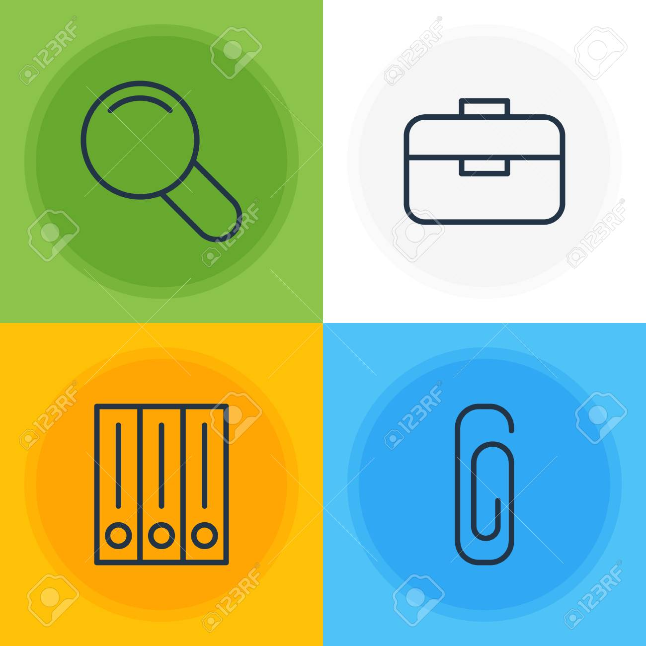 Vector Illustration Of 4 Stationery Icons. Editable Pack Of Portfolio, Paperclip, Zoom And Other Elements. Stock Illustration - 89139674