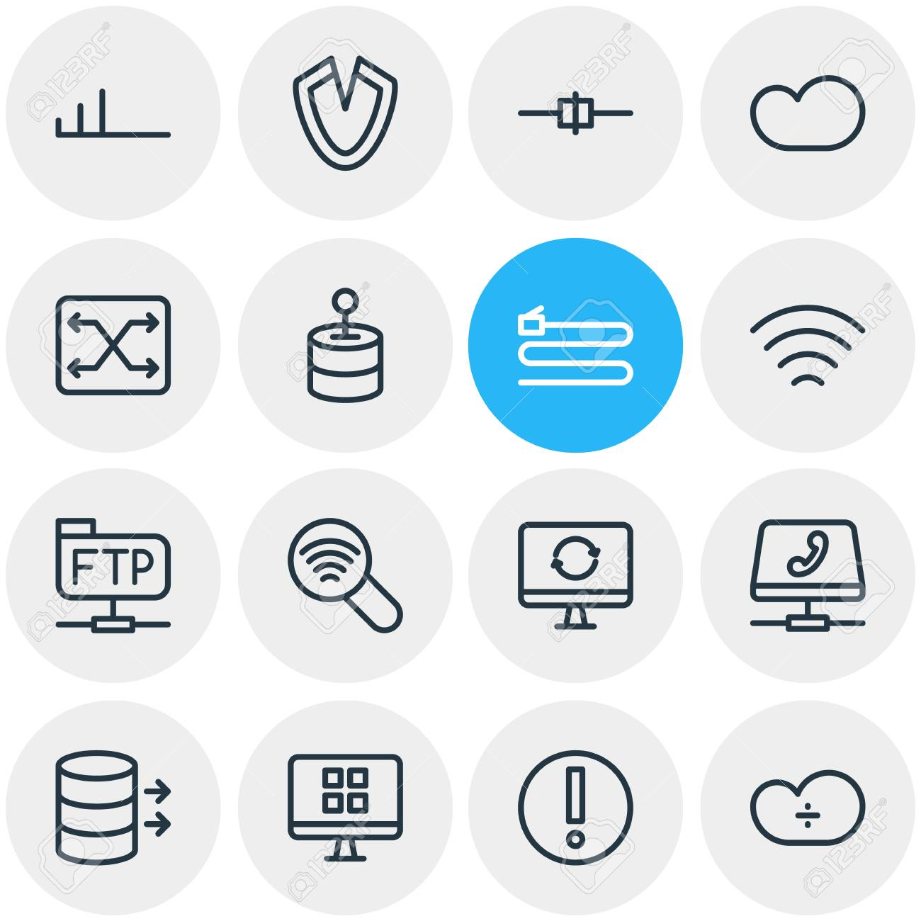 Vector Illustration Of 16 Network Outline Icons  Editable Set