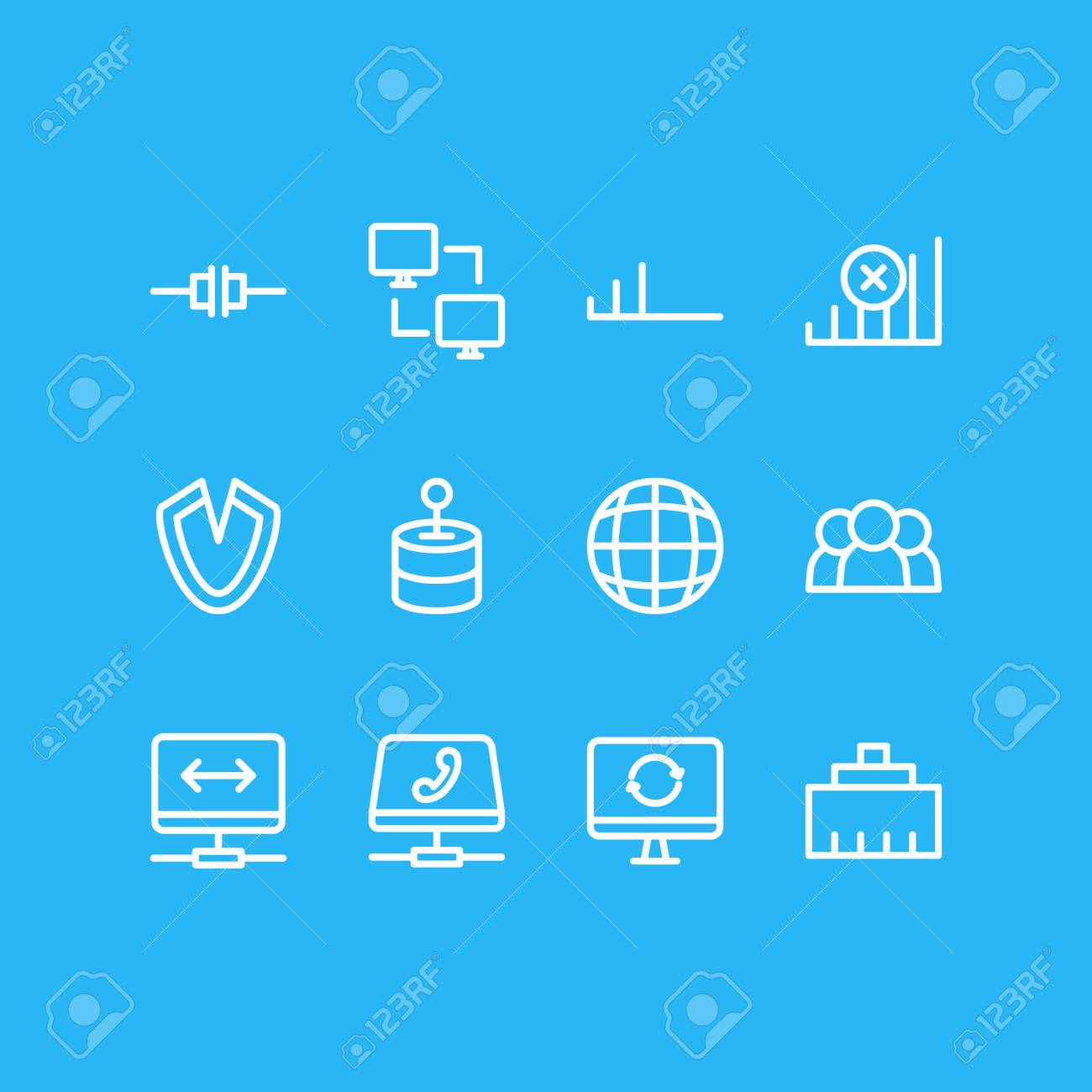 Vector Illustration Of Web Icons Line Style. Editable Set Of ...