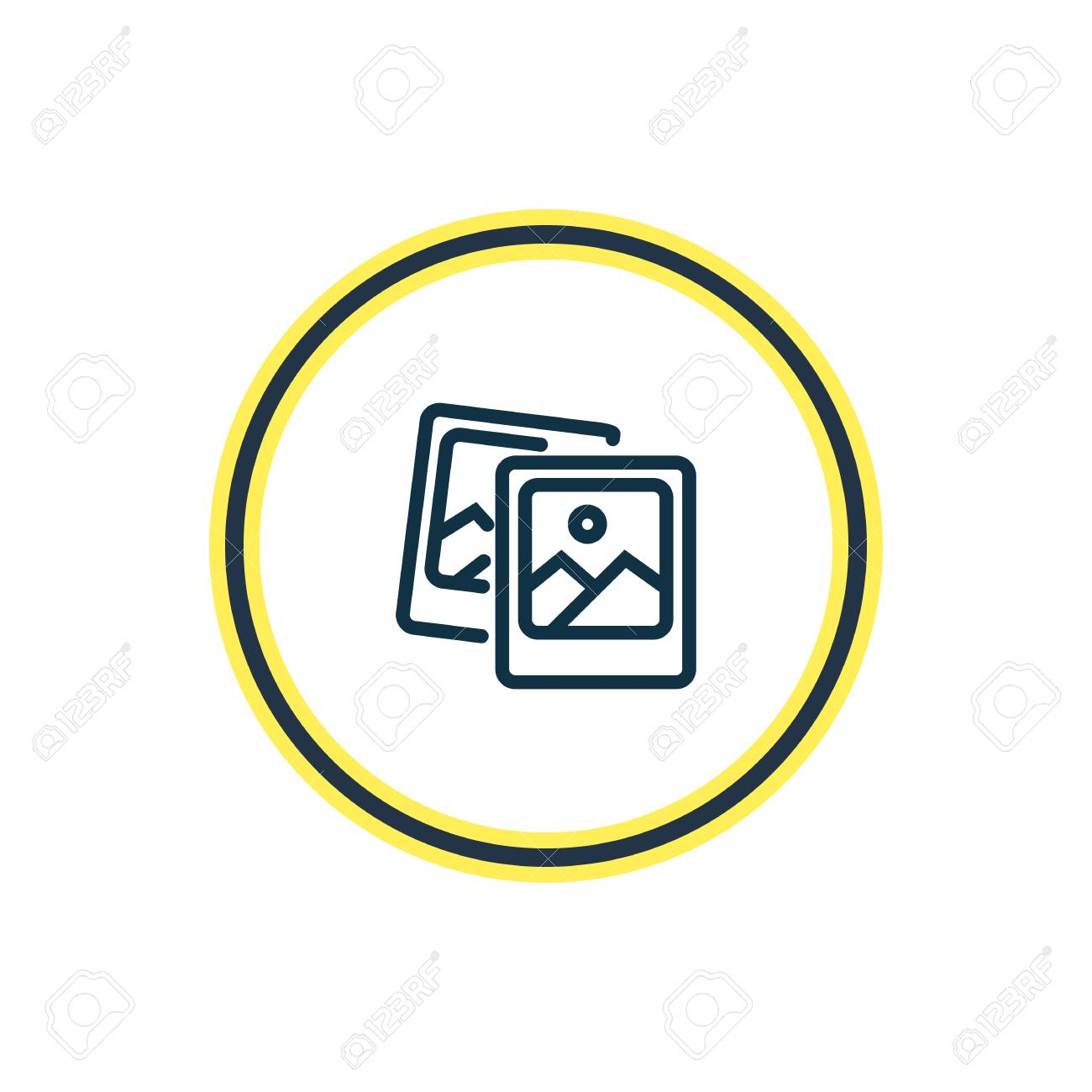 Vector illustration of polaroid pics icon line. Beautiful celebration element also can be used as image icon element. - 106599880