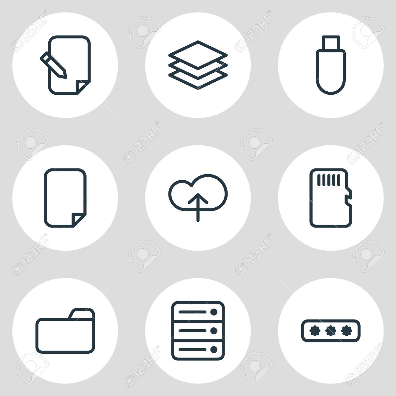 illustration of 9 memory icons line style. Editable set of cloud, category, document and other icon elements. - 107131450
