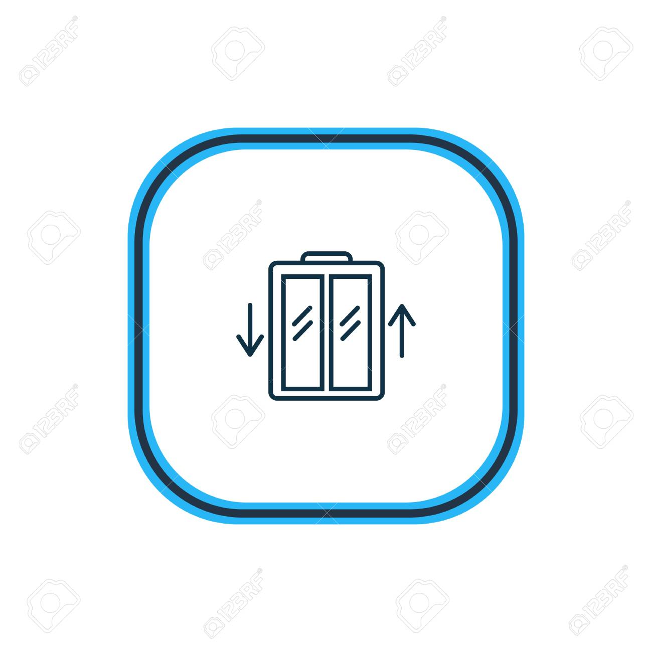Vector illustration of elevator icon line. Beautiful hotel element also can be used as lift icon element. - 111635933