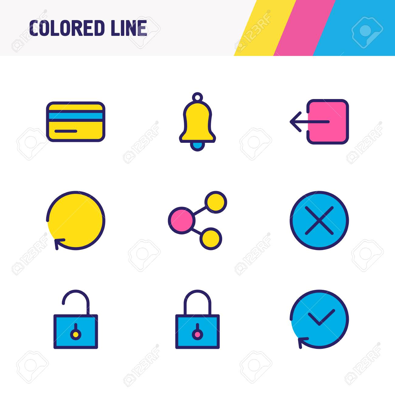 Vector illustration of 9 app icons colored line  Editable set
