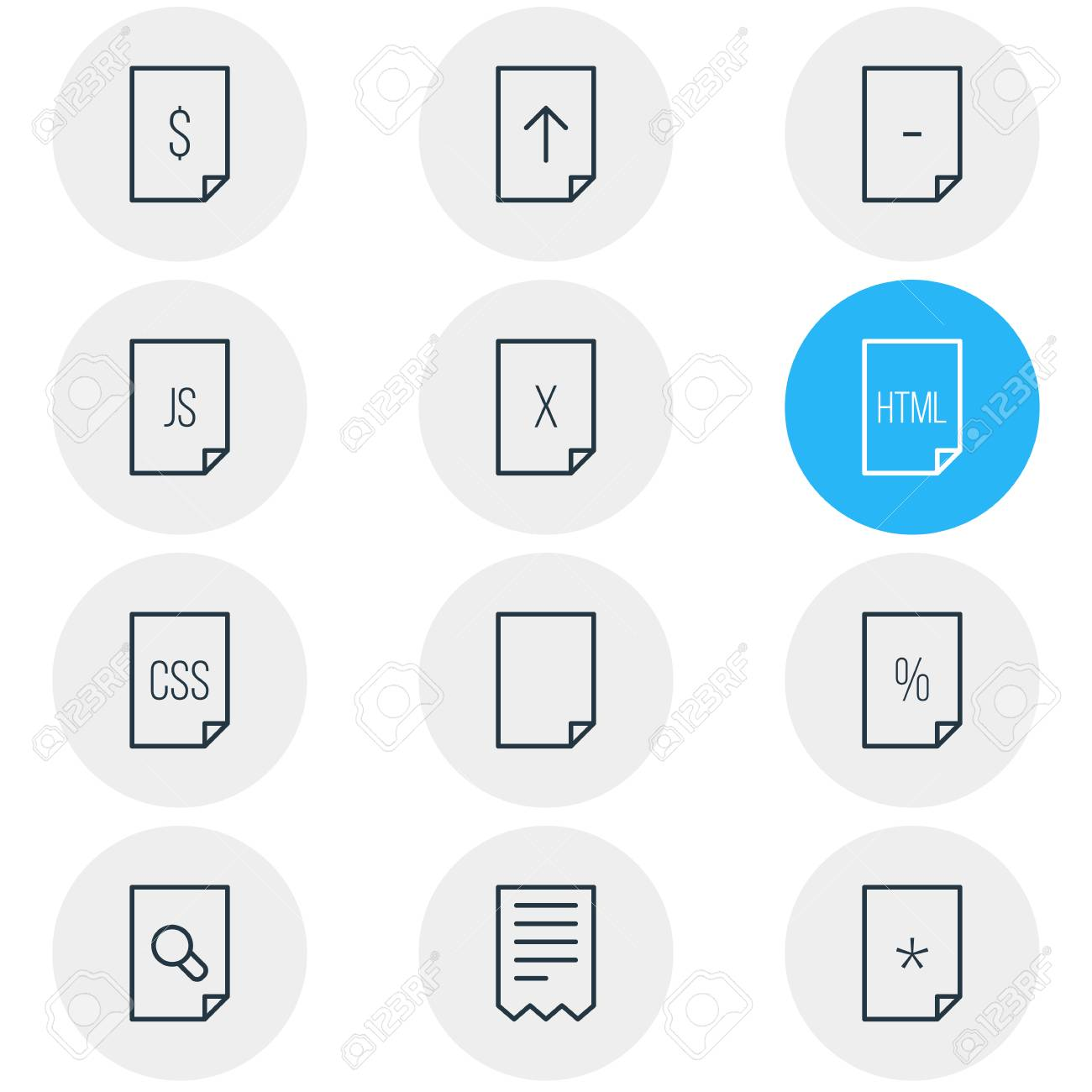 Vector illustration of 12 file icons line style  Editable set