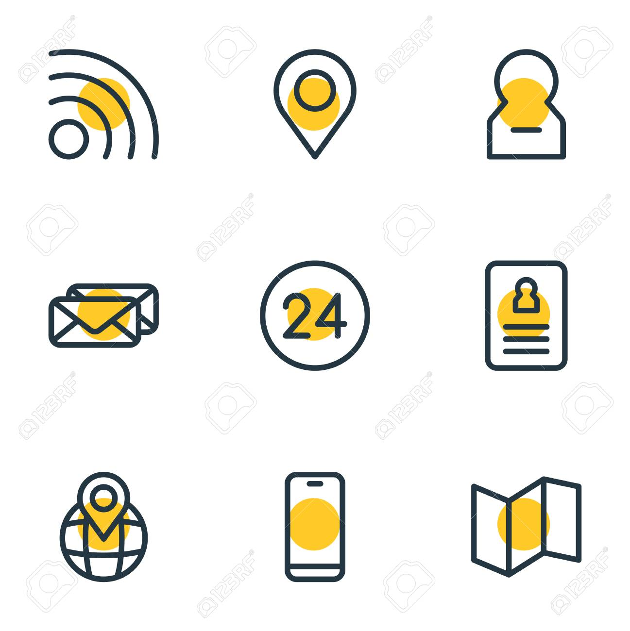 Vector illustration of 9 contact icons line style  Editable set