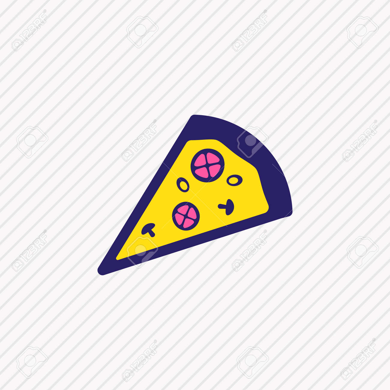 illustration of pizza slice icon colored line. Beautiful eating element also can be used as pizzeria icon element. - 157462678