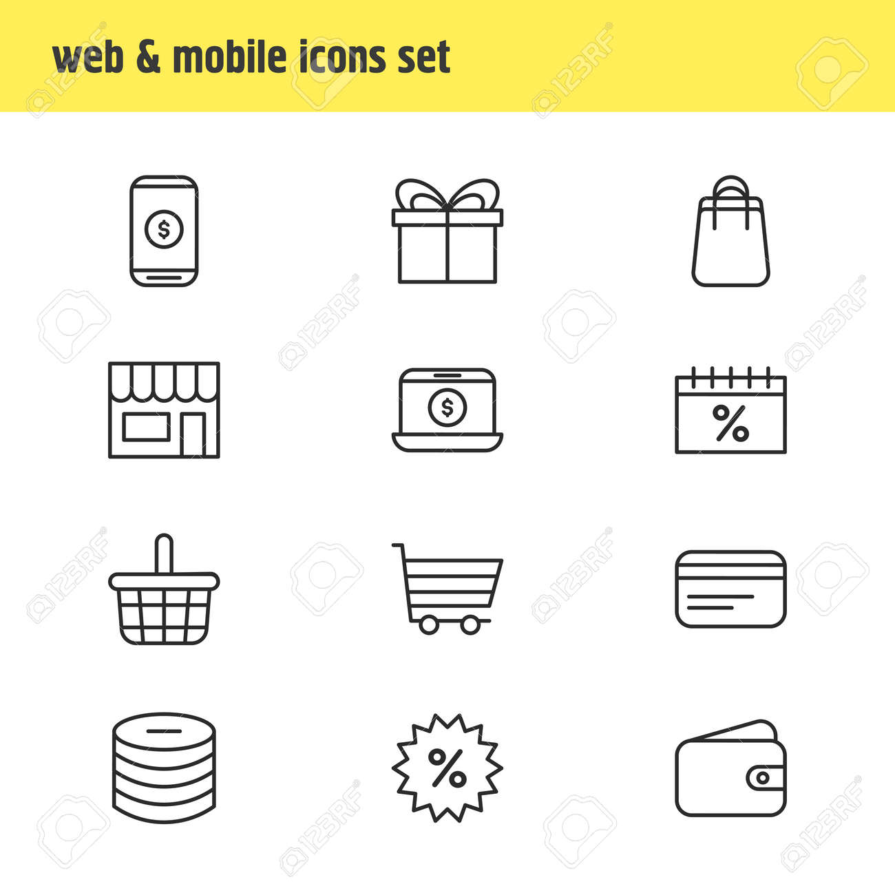 illustration of 12 wholesale icons line style. Editable set of basket, payment, credit card and other icon elements. - 157462686