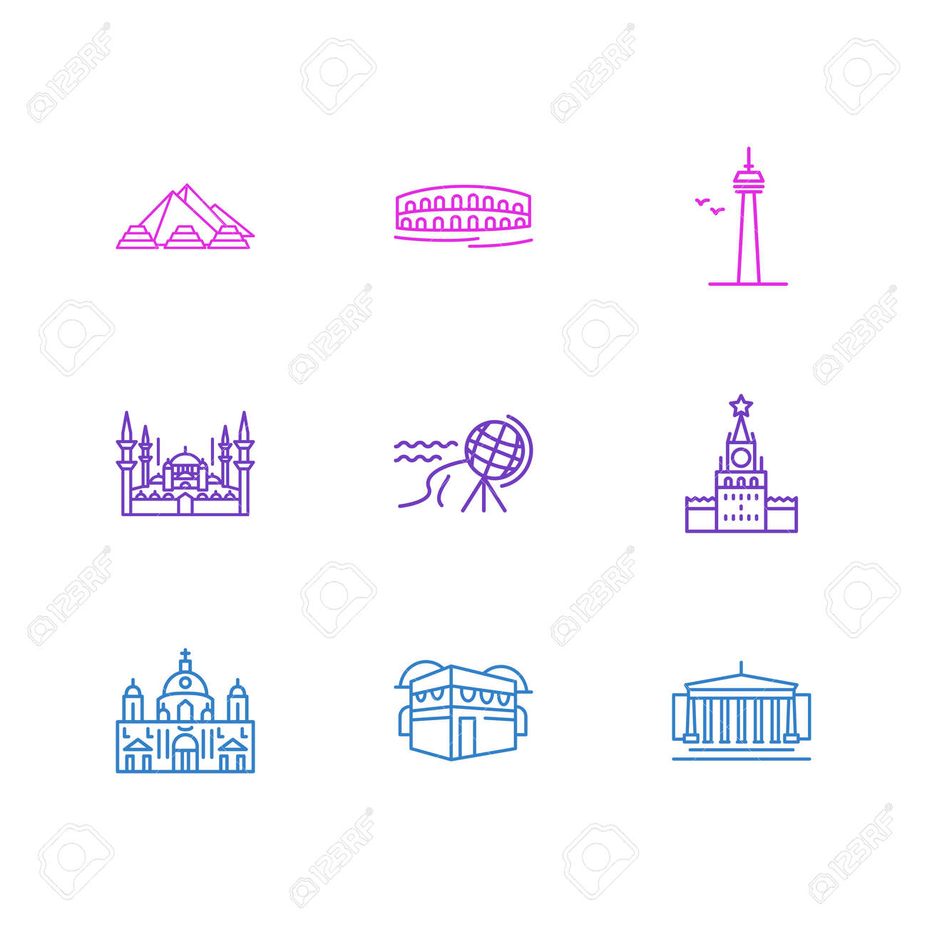 illustration of 9 history icons line style. Editable set of north cape, moscow, berlin cathedral and other icon elements. - 157462690