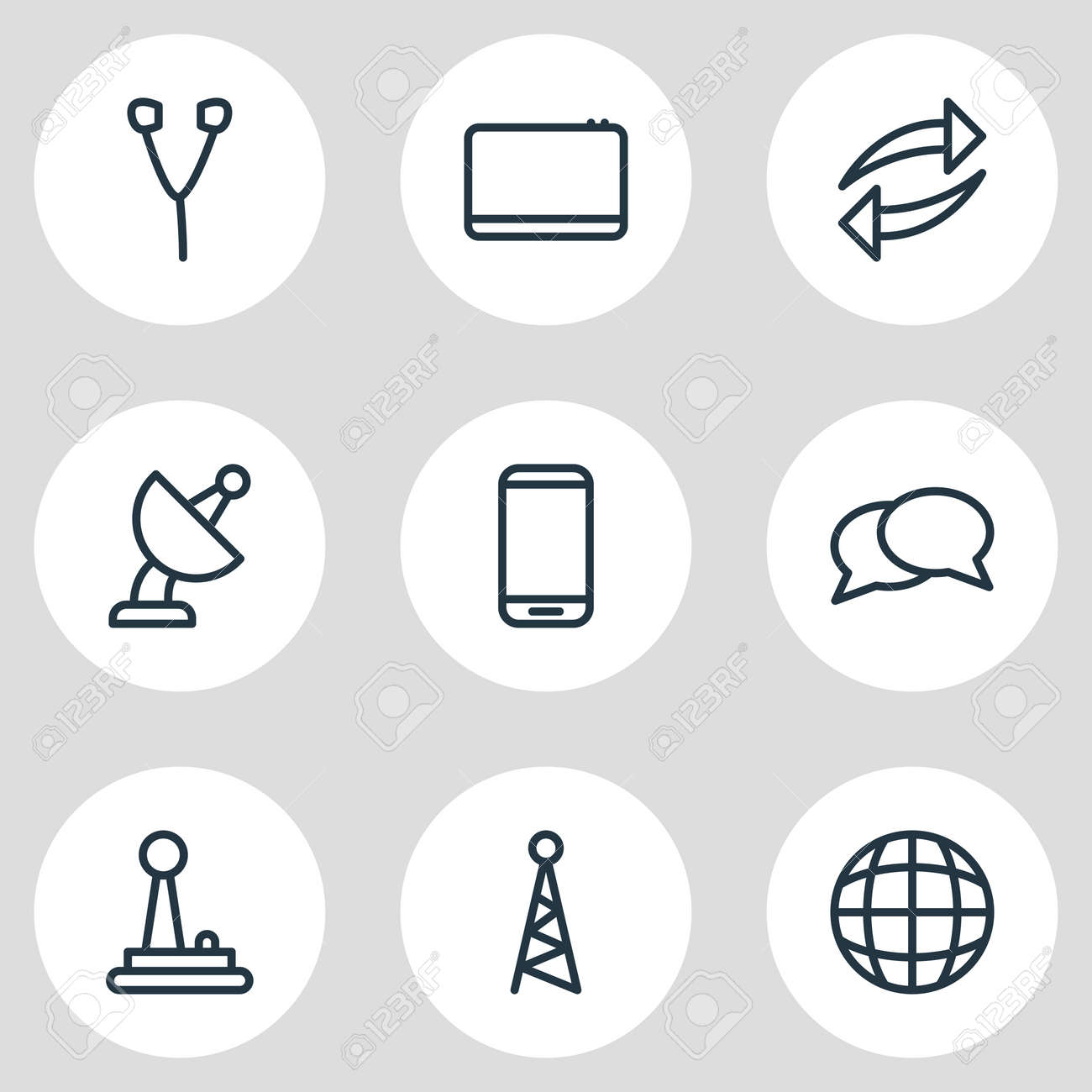 illustration of 9 media icons line style. Editable set of smartphone, joystick, tablet and other icon elements. - 157462698