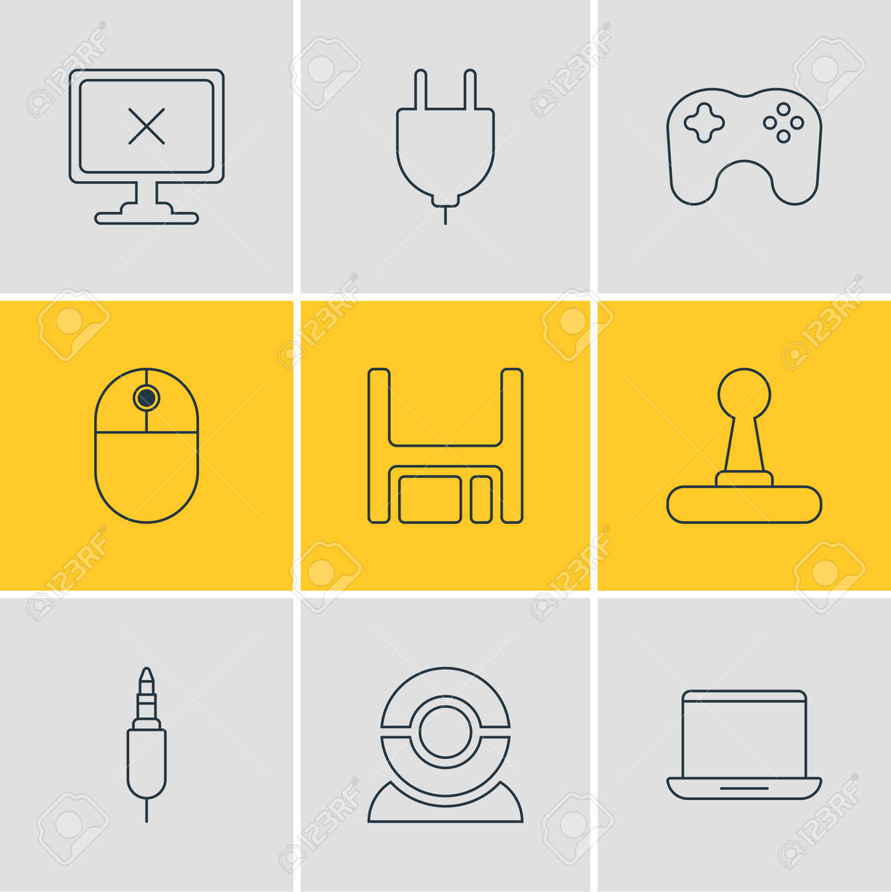 illustration of 9 notebook icons line style. Editable set of floppy disk, plug, game controller and other icon elements. - 157462765