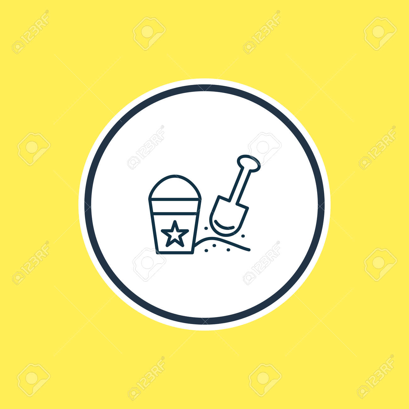 Vector illustration of sand pail with shovel icon line. Beautiful child element also can be used as beach game icon element. - 158380313