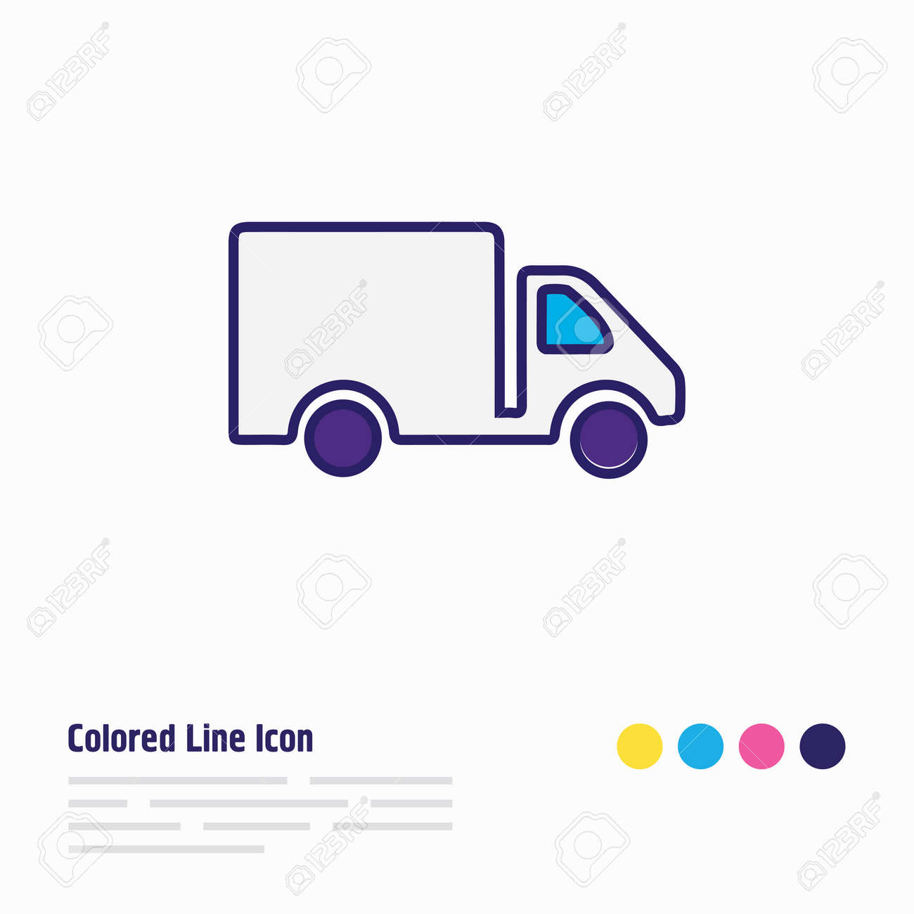 Vector illustration of truck icon colored line. Beautiful transport element also can be used as van icon element. - 158380322