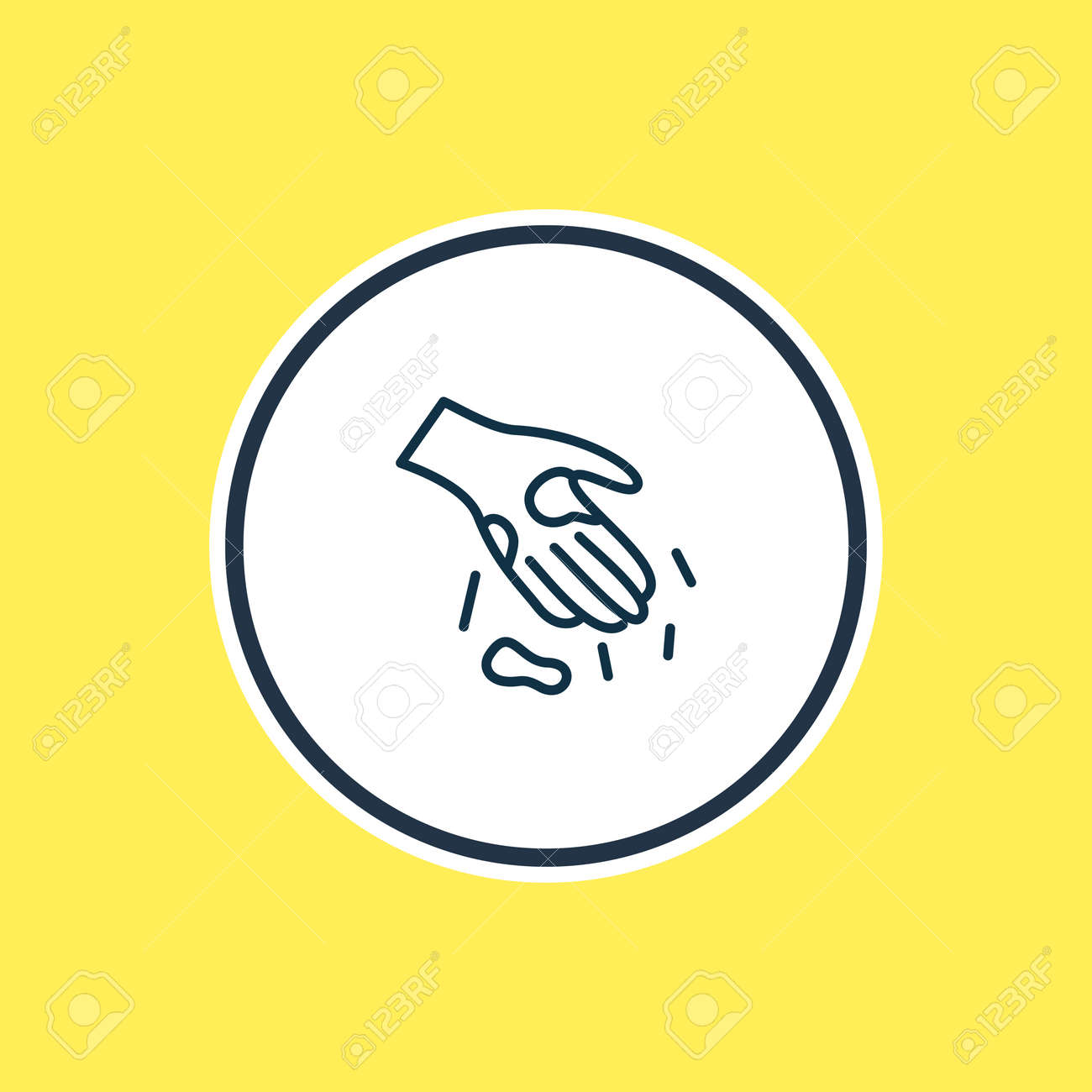 Vector illustration of dirty hands icon line. Beautiful toilet element also can be used as palm icon element. - 158380323