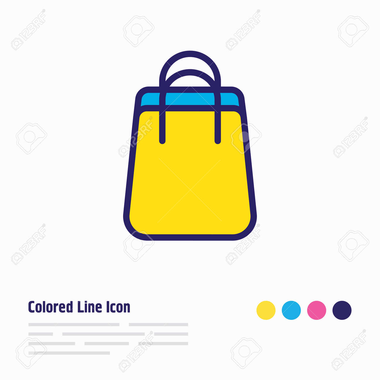 Vector illustration of shopping bag icon colored line. Beautiful wholesale element also can be used as package icon element. - 158380325