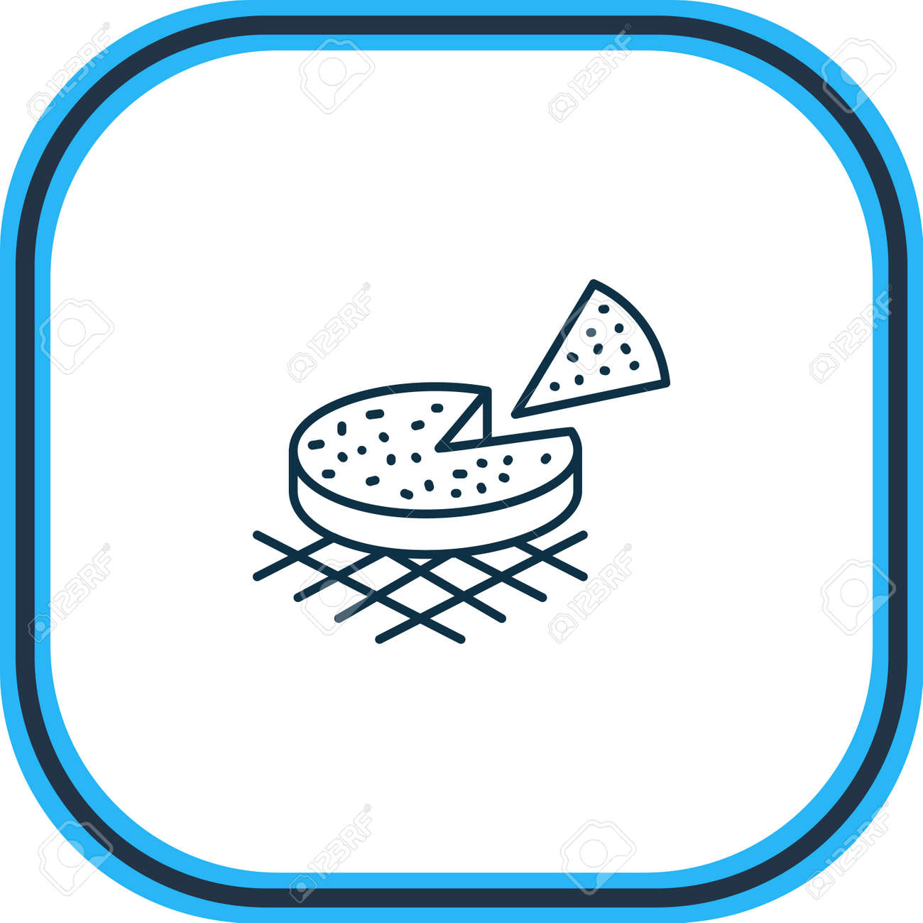 Vector illustration of finnish squeaky cheese icon line. Beautiful world cuisine element also can be used as pie icon element. - 158380331