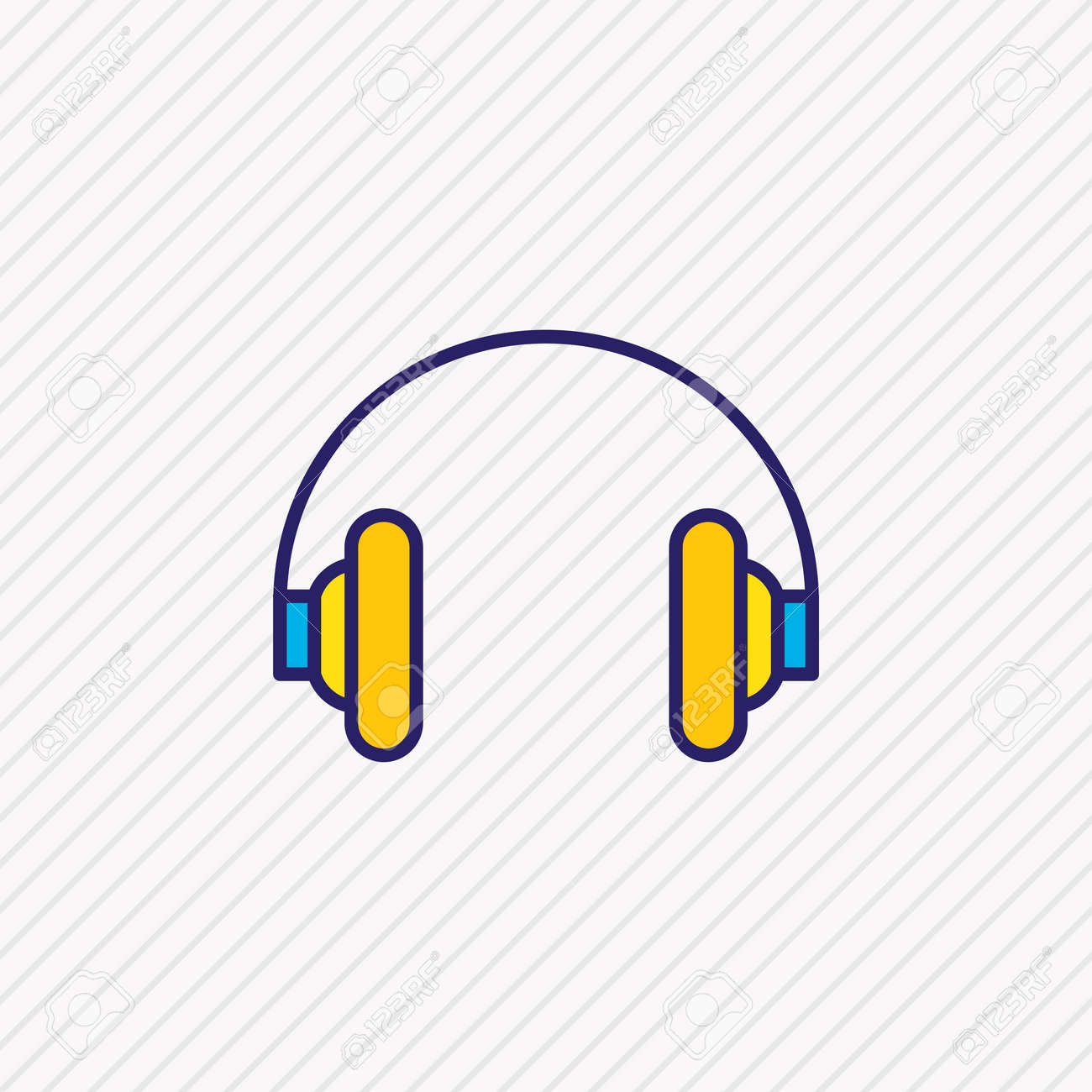 Vector illustration of headphones icon colored line. Beautiful hardware element also can be used as earphone icon element. - 158380332