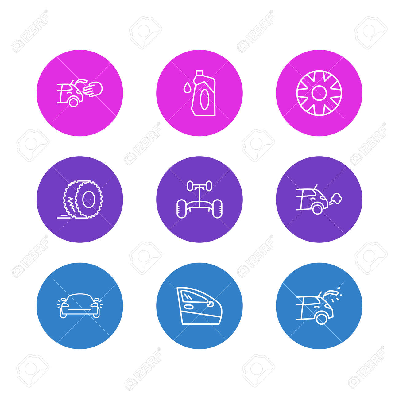 Vector illustration of 9 car icons line style. Editable set of car chassis, hubcap, door and other icon elements. - 158380336