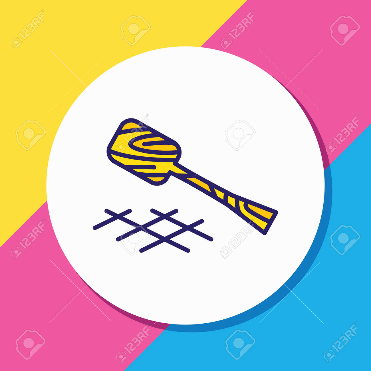 Vector illustration of turner icon colored line. Beautiful cutlery element also can be used as wooden spatula icon element. - 158380337