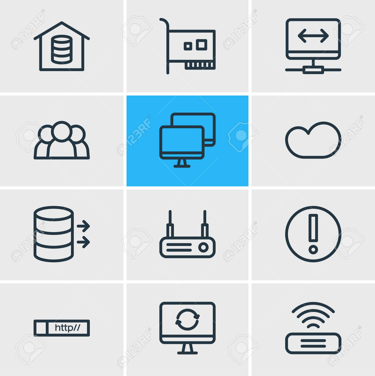 Vector illustration of 12 network icons line style. Editable set of vpn, users, router and other icon elements. - 158380341