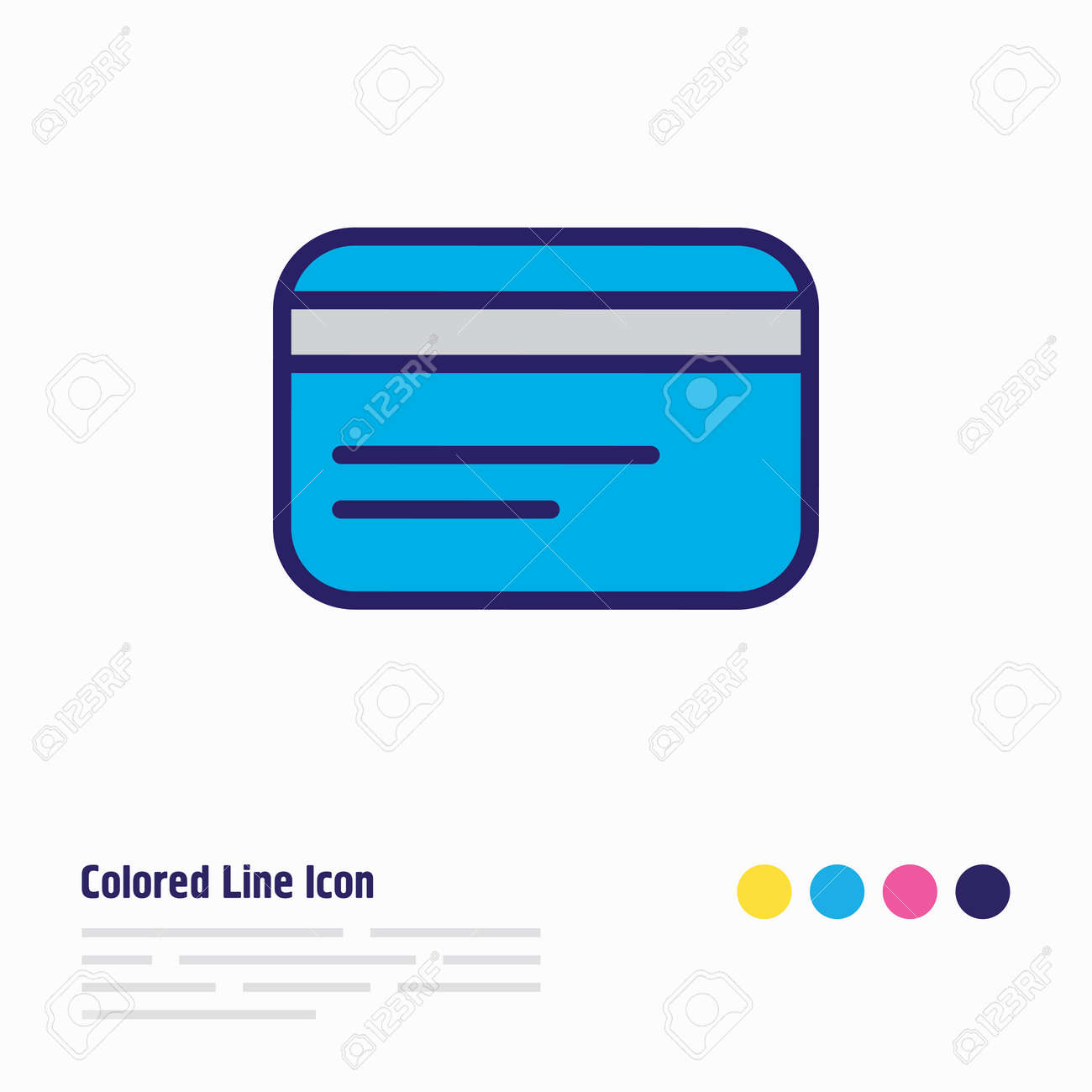 Vector illustration of credit card icon colored line. Beautiful wholesale element also can be used as debit icon element. - 158380370