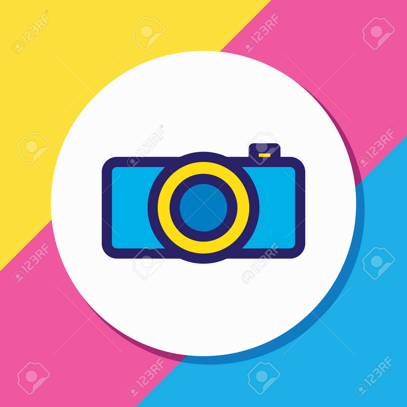 Vector illustration of camera icon colored line. Beautiful hobby element also can be used as photography icon element. - 158380403