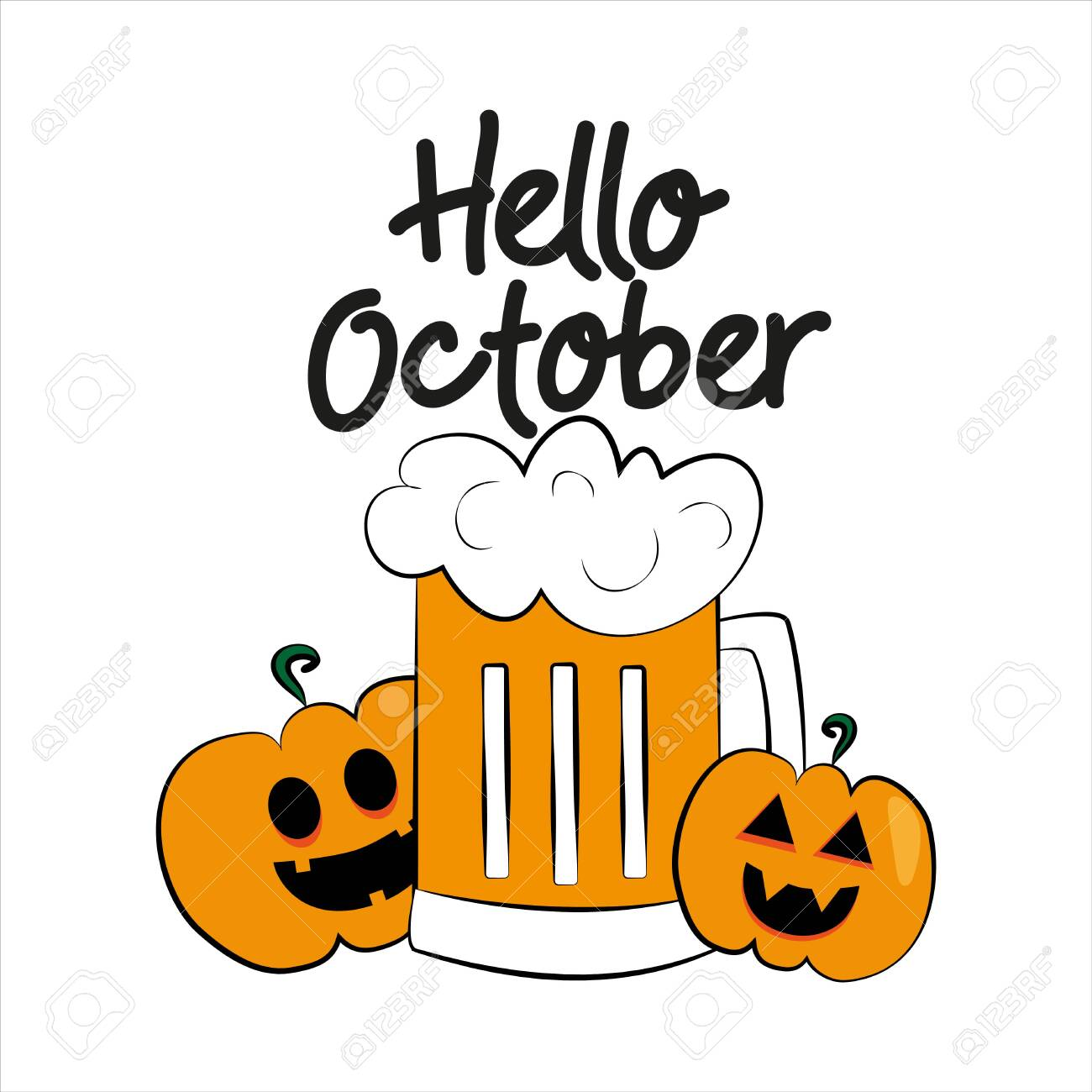 Hello October Autumn Or Halloween Text With Colorful Beer Mug Royalty Free Cliparts Vectors And Stock Illustration Image 150557420