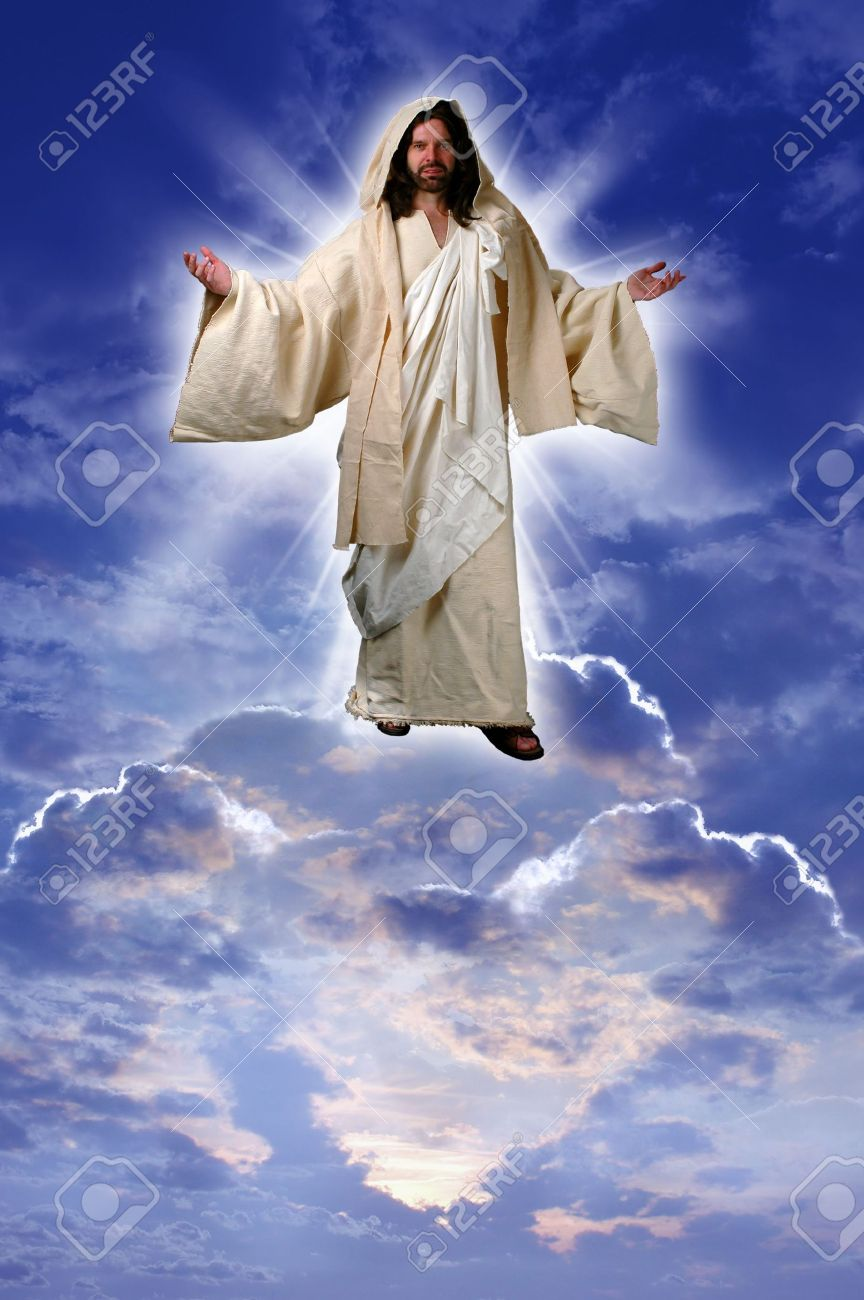jesus on a cloud taken up to heaven after his resurrection