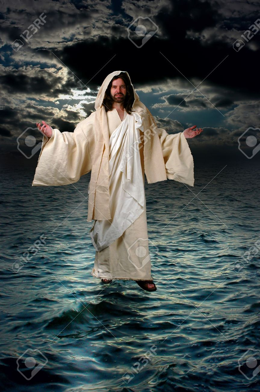 jesus walking on the water stock photo picture and royalty free